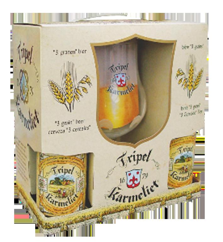 Tripel Karmeliet kufřík 4 +  sklenice foto